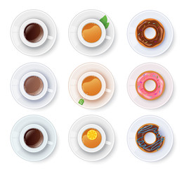 Tea and coffee with donuts