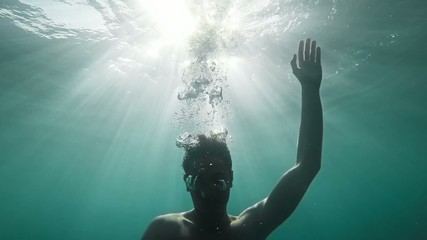 Young Man Drowning Underwater Sinking Dyeing Danger Depression