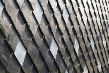 Shingles on a wall close up