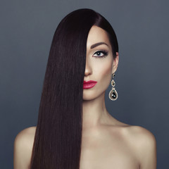 Elegant lady with long healthy hair