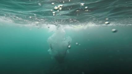 Summer Fun Man Jumping Off Cliffs Into Water Underwater Splash