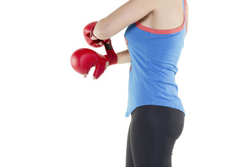 fit young woman red boxing gloves