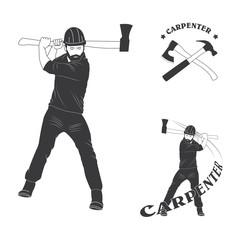set of stylish logo for carpenters