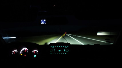 Timelapse of driving a car on night road