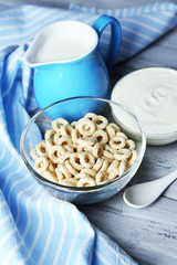 Homemade yogurt and delicious  cereals in bowl