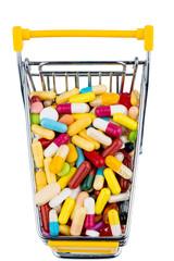 Bunte Tabletten im Einkaufswagen