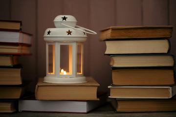 Books and decorative lantern