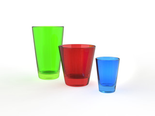 Colorful juice glasses - side view