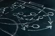 Leinwanddruck Bild - Scheme basketball game on blackboard background