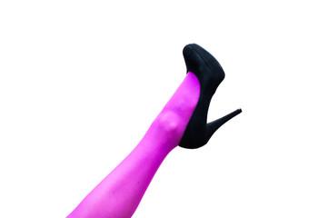 Female leg in pink pantyhose and black high heels
