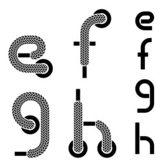 vector shoelace alphabet lower case letters e f g h