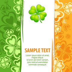 Clover leaf grunge pattern with text, vector illustration for
