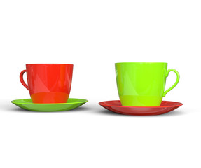Red and Green Coffee Cups