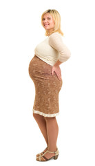 pregnant woman in brown dress