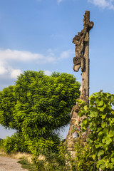 Old Broken Cross and Jesus Christ at the Field Road, Alsace