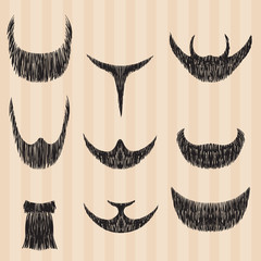 Mens retro collection of hair styling beard.