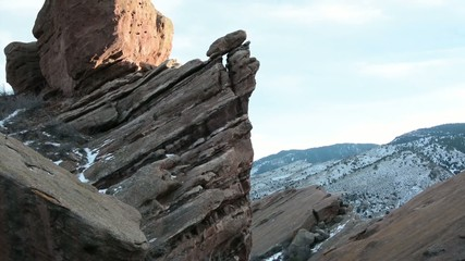 Tilt shot along rock formations at Red Rocks