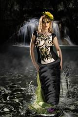 body painted mermaid