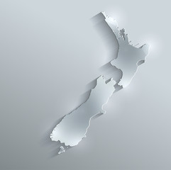 New Zealand map flag glass card paper 3D vector