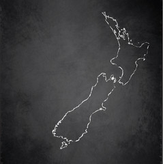 New Zealand map blackboard chalkboard vector