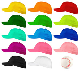 baseball cap side view set
