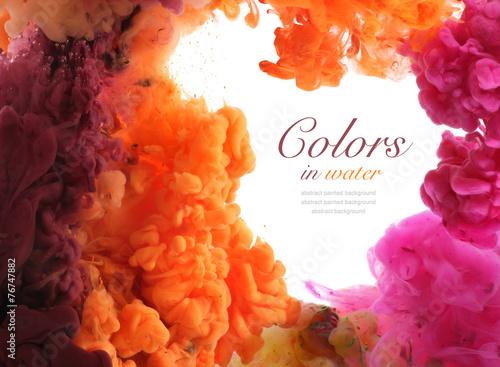 Canvas Kleuren in het water Acrylic colors in water. Abstract background.