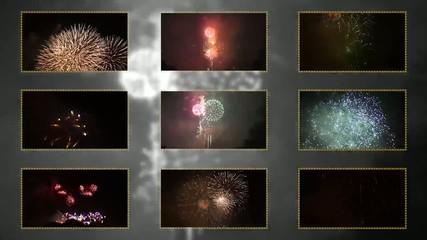 Nine fragments of fireworks at the same time