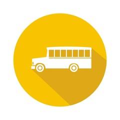 Icono bus school amarillo botón sombra
