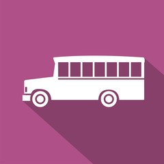 Icono bus school morado sombra