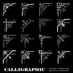 Calligraphic corners and frames isolated on black background