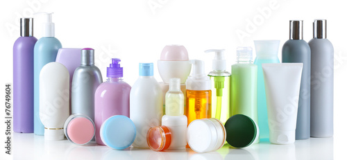 Group of cosmetic bottles isolated on white - 76749604