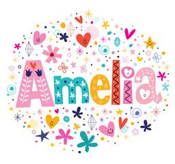 Amelia female name decorative lettering type design