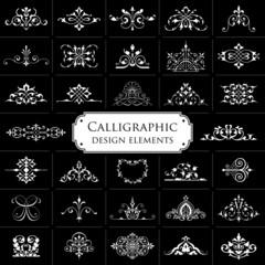 Calligraphic design elements on black background - set 1