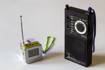 Portable radio receivers. Old and new.