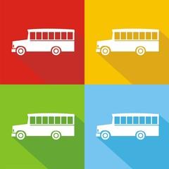 Iconos bus school colores sombra