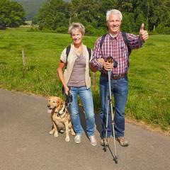 Paar Senioren mit Hund im Sommer