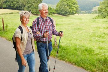 Paar Senioren geht Wandern im Sommer