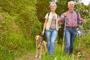 Paar Senioren macht Ausflug in den Wald