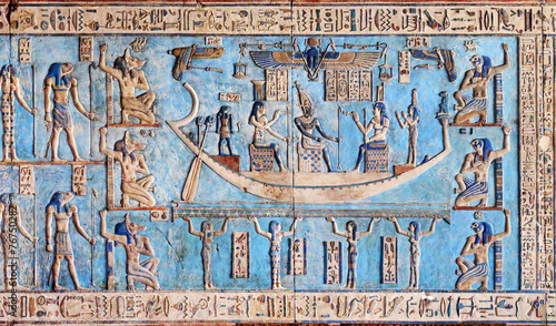 Hieroglyphic carvings in ancient egyptian temple - 76750282