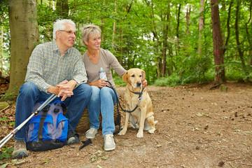 Paar Senioren macht Pause mit Hund