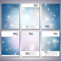 Abstract winter design background with snowflakes. Brochure