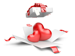 Opened gift box with red hearts