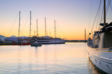 Yachts in Zea Marina in Athens, Greece.