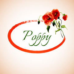 Postcard painted red poppy