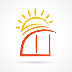 window emblem sun symbol element vector icon