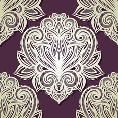 Seamless Ornate Pattern (Vector). Hand Drawn Vintage Texture