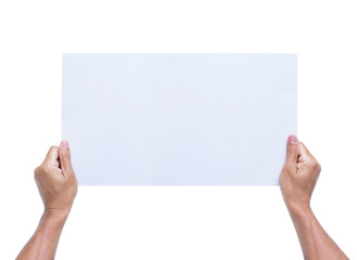 Hands holding blank paper isolated on white background