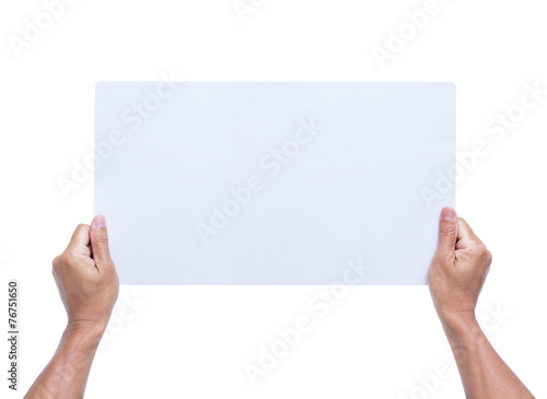 canvas print picture Hands holding blank paper isolated on white background
