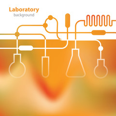 Science and Research - laboratory facilities - orange background