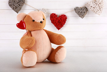 Teddy bear with hearts, love concept